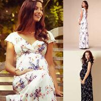 Women's Ladies Floral Short-Sleeved Dress Pregnant Women Maternity Long Dress