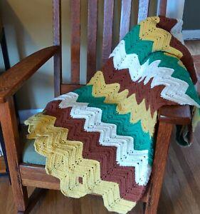 Vintage 70s Crochet Chevron Afghan Throw Green Yellow Brown Blanket Fall Decor
