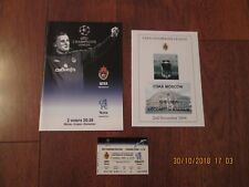 2004/5 CSKA MOSCOW v CHELSEA (CHAMPIONS LEAGUE) PROG(S), TICKET & ITINERARY