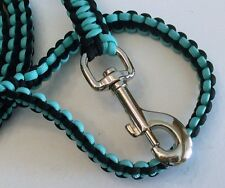 Paracord Dog Leash Heavy Duty 5' long Custom Made Turquoise & Black In Color