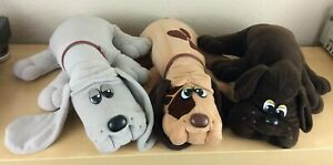 "Lot of 3 Vintage 17"" Tonka Pound Puppies: Gray, Tan w/ Spots, Chocolate (1986)"