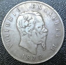 1872 M BN - ITALY - 5 LIRE - .900 SILVER - HUGE - Nice Details
