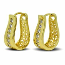 9ct Gold Filled Womens Beautiful Stylish Hoop Earrings White CZ Crystals