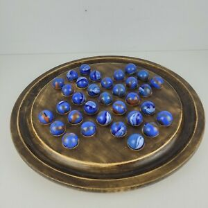 Vintage Solid Wood SOLITAIRE Game with Beautiful Blue Marbles