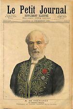MINISTRE Charles de Freycinet Académie française des sciences 1891 ANTIQUE PRINT