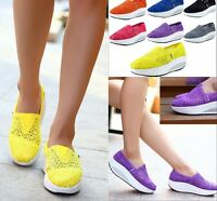 Girl Womens Platform Shoes Crochet Lace Slip On Comfort Sports Trainers Sneakers
