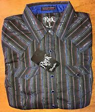 NWT WRANGLER Rock 47 Country Western L/S Striped Black/Pink/Royal Shirt Small