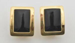 Ladies 18 K Yellow Gold & Onyx Pierced Earrings