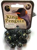 "Net Bag of 25 ""King Penguin"" Glass Mega Marbles 24 Players & 1 Shooter RETIRED!!"