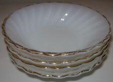 "Anchor Hocking Suburbia Milk Glass Scalloped Dishes 5"" Lot 4 White Gold Trim"
