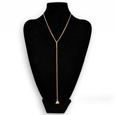 Fashion Womens Triangle Dangle Bar Tassel Pendant Long Layering Chain Necklace
