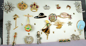 VTG Figural Jewelry Lot 41pc CROWNS COMETS MOON STARS Enamel Art Glass Crystal +