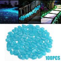 100pcs Blue Luminous Pebble Stones Gardening Aquarium Landscaping Decoration