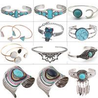 Charm Fashion Women Natural Turquoise Cuff Wristband Bangle Bracelet Jewelry