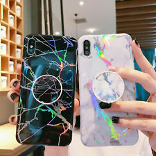 For iPhone 11 Pro 7 Plus 8 6s X Marble Case Soft Phone Cover with Pop Up Socket