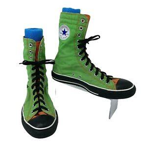 Converse All Star Sneakers Men's Size 8 Ultra High Top Light Green Orange Stripe
