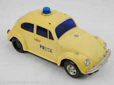 Vintage Battery Operated VW Beetle Police Car Electronic Bump N Go Toy Centre HK