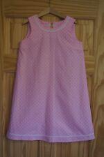 Handmade beautiful girls pinafore shift dress age 7 pink spot elegant