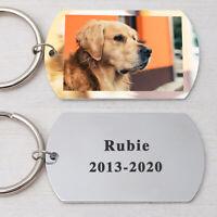 Personalized Dog Keychain Pet Name Keyring Dog Photo Keychain Pet Memorial Gift