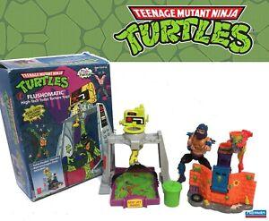 TMNT 1989 Flushomatic 100% w Box 1990 Oozey w Shredder Figure ninja turtles