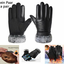 Mens Thermal Motorbike Motorcycle Leather Gloves Waterproof Protection Winter