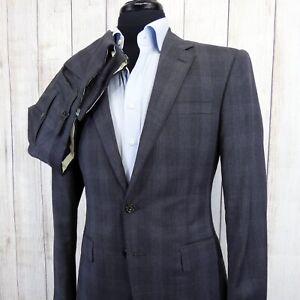 Ralph Lauren Purple Label RLPL Savile Row Glen Plaid Gray Side Tab Suit RARE 38S