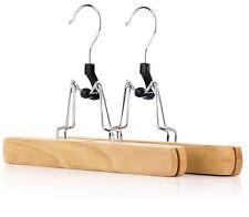 SET OF 2 BEECH WOOD FELT LINED TROUSER SKIRT PANTS CLAMP HANGER NON SLIP SET 417
