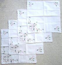 SET FOUR (4) LENOX LINENS CHRISTMAS 100% COTTON NAPKINS Embroidery Cutwork