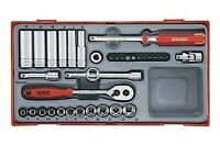 Teng Tools 35 Piece 1/4 Drive Socket Ratchet Extension Tool Set