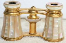 Antique Lemaire Fabi Fabt Paris Mother of Pearl Opera Glasses Binoculars w/ Case
