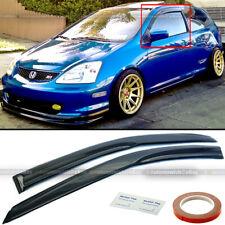 For 02-05 Civic Si Hatchback Ep3 Mugen Style 3D Wavy Black Tinted Window Visor