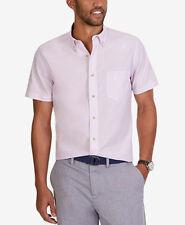 Nautica Mens Dobby Stripe Short-Sleeve Lavendula Dress Shirt - XL