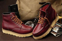 Mens High Top Wedge Combat Boots Sole Soft Toe Work Military Ankle Outdoor