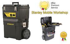 NUOVO Heavy Duty STANLEY centro di lavoro mobili Cassetta degli attrezzi sul petto di archiviazione + TROLLEY RUOTE