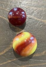 """Vintage Lot. 2 Glass Swirl Red and Yellow Marbles 9/16"""" & 3/4"""" NICE MARBLE KING?"""