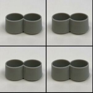 """SET 4 Double 1"""" Chair Table Leg Caps 50s Diner Kitchen Table Tip Siamese Slide"""