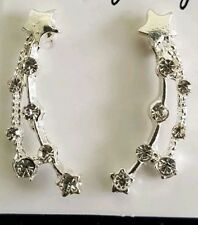 Rhinestone Star Meteor drop earrings Silver Toned