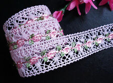 1.5 Inch CROCHET Ribbon trim pink color  with pink roses selling by the yard
