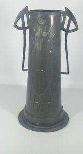 Art Nouveau Embrosse Pewter Twin Handle Vase