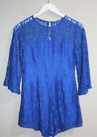 Here Comes The Sun Brand Blue Lace Playsuit Size 10 BNWT #TI59