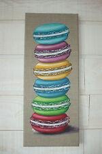 Tableau Peinture colonne de macarons multicolores (toile lin)