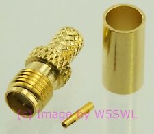 SMA Female Crimp Connector RG-58 LMR195 GOLD 2-Pack - by W5SWL ®