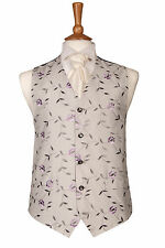 MENS LILAC & SILVER VINE WEDDING DRESS SUIT WAISTCOAT ALL SIZES