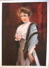 art print~ONE PINK ROSE~Victorian Lady woman with flower fur scarf vtg rep 21x29