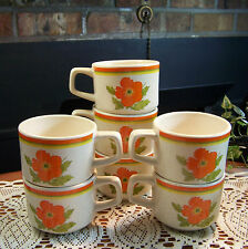 7 Vintage LENOX FIRE FLOWER COFFEE TEA CUPS MUGS Orange Floral Retro