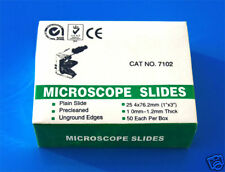 50 New Glass Microscope Slides Plain Clear Edges *UK*