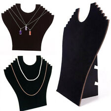 Jewelry Display Holder For Pendant Chain Necklace Stand Neck Velvet Easel Black