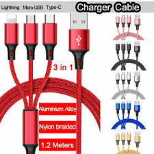 3-IN-1 NYLON BRAIDED MOBILE PHONE CHARGER MULTI CABLE MICRO USB / APPLE DEVICES