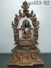ancient Chinese Old copper Placental mud gold Sprinkle cinnabar Buddha statue