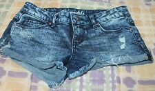 Juniors Womens Aeropostale AERO shorty shorts white wash distressed Sz 0